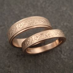 Wedding Band Set Floral Wedding Rings in by DownToTheWireDesigns
