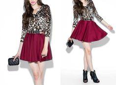 Blusa animal print y falda color vino