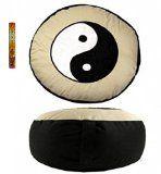 Meditationskissen Yogakissen Yin Yang rund weiß  schwarz 33x17cm Inkl. 20 Meditation Räucherstäbchen Geschenkt Reviews