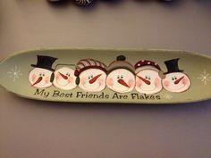 My best friends are indeed Flakes!: Snowmen platter #art