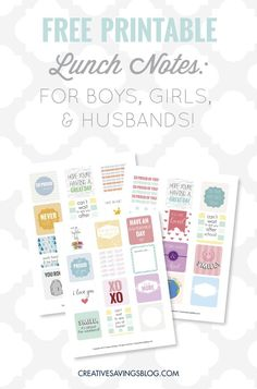 Add these printable lunch notes to your kiddos {or husband's} lunches and instantly brighten their day with love and encouragement. Three versions are available for FREE as an instant download!