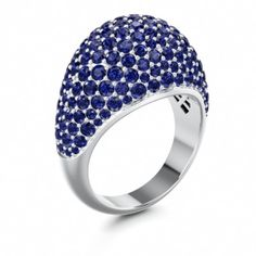 PATHOS | Pave Set Designer Ring with Blue Sapphire in Platinum