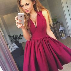 Hot Pink Short V Neck Homecoming Dress Party Dress