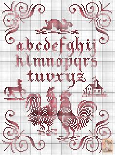 Red cross-stitch
