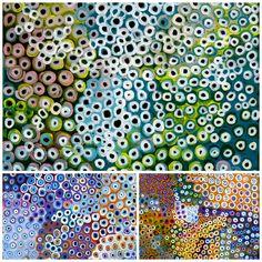 'Soakage' paintings by aboriginal artist Lena Pwerle. Exhibition at Utopia Lane Gallery.