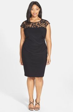 Adrianna Papell Lace Yoke Side Pleat Sheath Dress (Plus Size) available at #Nordstrom