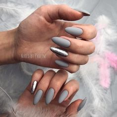 15 trendy ideas for gray nails that you should try now - 15 tr . - 15 trendy ideas for gray nails that you should try now – 15 trendy ideas for gray nails that you - Grey Matte Nails, Chrome Nails, Matte Almond Nails, Stylish Nails, Trendy Nails, Cute Acrylic Nails, Cute Nails, Nails Polish, Nagel Gel