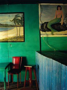 Interior of Bar with Mermaid Mural, Tela, Honduras. By Jeffrey Becom