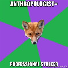 Anthropology Major Fox - Anthropologist= Professional stalker