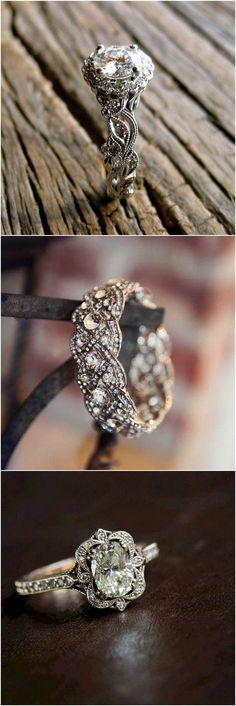 Vintage inspired wedding engagement rings #wedding #weddingrings #engagementrings