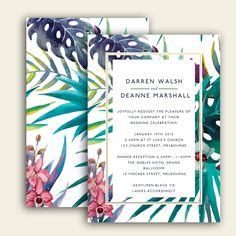 I LOVE the idea of watercolor floral/palm tree elements.  I also really enjoy the clean geometric border/box area.