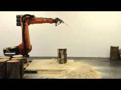 Chainsaw robot programmed to carve two stools from a single log