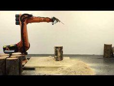 kkaarrlls für Echtwald; watch as digitally-programmed robot saws a log end into several interlocking stools.