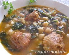 las recetas del marqués de muchabarba: POTAJE DE GARBANZOS CON BACALAO Y ESPINACAS