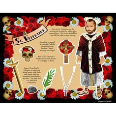 St. Valentine paper doll DIY print and cut digital download on Etsy. Might try to use this for M to make school Valentine's this year...