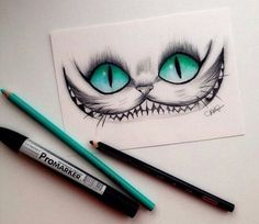 Love love love this Cheshire Cat (Alice in Wonderland) drawing. The eyes are amazing.