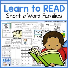 Do you have a child who is ready to take off reading? Learn to Read is the perfect curriculum to help him do just that! Each lesson is filled with short vowel word family and sight word activities that teach reading in a fun way. Teaching Reading, Teaching Kids, Learning, Reading Games, Kindergarten Reading, Reading Activities, Guided Reading, Learn To Spell, Learn To Read