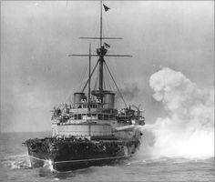 "Pre-Dreadnought battleship HMS Victoria firing her forward 16"" guns circa 1888. wonderful pic.....the power of his majestic"