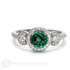 Emerald Engagement Ring Emerald Ring 3 Stone with Diamond Halo May Birthstone Green Gemstone 14K or 18K Gold - http://emerald-engagementring.com/emerald-engagement-ring-emerald-ring-3-stone-with-diamond-halo-may-birthstone-green-gemstone-14k-or-18k-gold/