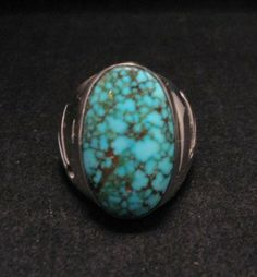 Fabulous Kingman Web Turquoise Sterling Ring sz10 by Orville Tsinnie