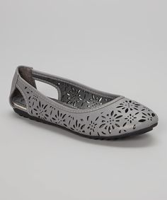 Another great find on #zulily! Gray Cutout Floral Flat by Victoria K #zulilyfinds