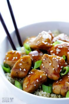 Sesame Chicken with Quinoa | gimmesomeoven.com
