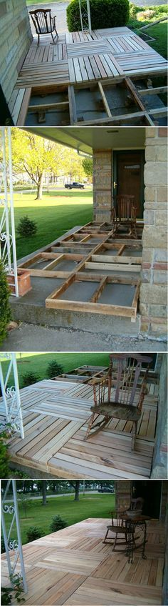 DIY Pallet Wood Front Porch or deck/patio in back yard Outdoor Spaces, Outdoor Living, Outdoor Decor, Outdoor Projects, Home Projects, Wood Pallets, Pallet Wood, Diy Pallet, Pallet Porch