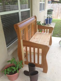 Refurbish Your Baby Crib Into A Bench For The Front Porch