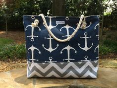 Anchors Chevron Canvas beach Bag Navy Sailor Bag Medium Tote with Rope Handles