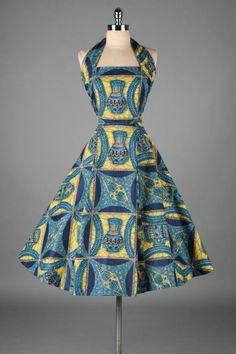 1950's Cotton Hawaiian Pottery Novelty Print Dress