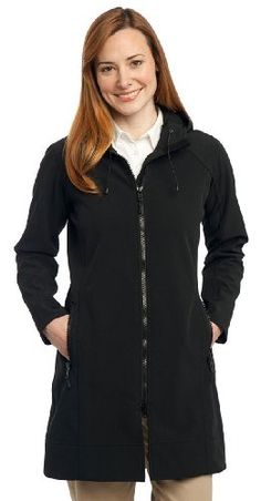 Port Authority Womens Water Resistant Long Hooded JacketXLargeBlack * Details can be found by clicking on the image.(This is an Amazon affiliate link)