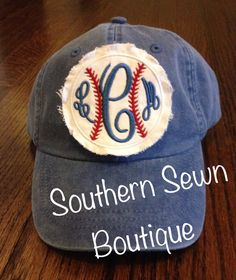 Ladies Raggy Patch Monogrammed Baseball by SouthernSewnBoutique