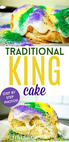A traditional King Cake is my favorite way to celebrate the Mardis Gras holiday. The soft, fluffy, layered, yeast dough sets the perfect foundation for a sweet, smooth frosting. No Cook Desserts, Just Desserts, Delicious Desserts, Yummy Food, Easy Cake Recipes, Dessert Recipes, Donut Recipes, King Cake Recipe, Mardi Gras Food