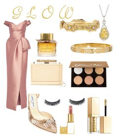 """Glow Look"" by rea-godo on Polyvore featuring Monique Lhuillier, Jimmy Choo, Gregg Ruth, Cartier, Armenta, Stila, Burberry, Tom Ford and Anastasia Beverly Hills"