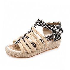WeiPoot Women's Hook And Loop Low Heels Blend Materials Assorted Color Open Toe Sandals - Amazing Shoes $31.98