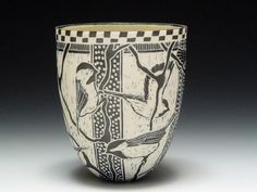 Tim Christensen-Kirby  Porcelain, Cone 6, Sgraffito, Gas Oxidation, 5.25 x 4.25 x 4.25 Inches.