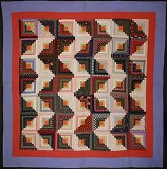 """Beautiful and pristine Streak of Lightning Log Cabin quilt in calico fabrics typical of southeastern Pennsylvania in the 1880s. Pattern is equally striking whether used vertically or horizontally. Double pinks and blues used for the border; the pieced bars back as well as throughout the quilt. Unwashed condition. Several white spots are imperfections in the printing process. Measures 80"""" square. Pennsylvania origin; circa 1880. Streak of Lightning Log Cabin Quilt: Circa 1880; Pa."""