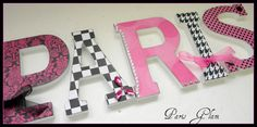 Girls Wooden Wall Letters  Paris Glam Theme  Hot by dwellingonline, $7.00 for Caroline
