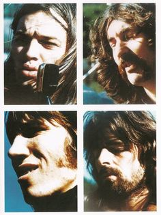 Pink Floyd:David Gilmour_ Nick Mason _ Rodger Waters _ Rick Wright, - collage from pompeii concert