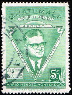 Guatemala Scott Stamp used-Mario Mendez Montenegro Stamp-Founder of Revolutionary Party-Airmail-Used Guatemala stamp for sale Rare Stamps, Vintage Stamps, Honduras, Montenegro, Belize, Salvador, Costa Rica, Panama, Native Art