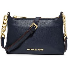 MICHAEL Michael Kors Bedford Medium Double Zip Messenger Bag ($228) ❤ liked on Polyvore featuring bags, messenger bags, navy, chain bag, navy blue leather bag, zipper bag, double zip bag and zippered messenger bag