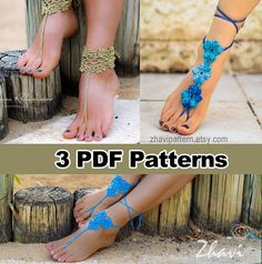 THREE Crochet Patterns: Barefoot Sandals & por ZhaviPatternShop