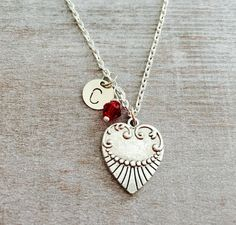 CUSTOM NECKLACE Oxidsed Silver Plated Necklace Heart by SAjolie