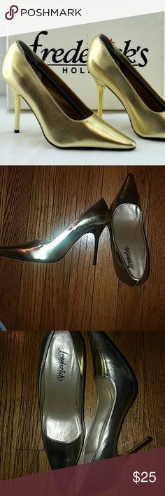 Gold Frederick's Stilettos- Size 6.5 Be daring in these 3' gold lame stilettos. They have a clean sole and a few scratches on the right toe. Frederick's of Hollywood Shoes Heels