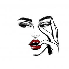 Woman Face Looking Left With Finger In The Mouth - Graphic Work Girly Drawings, Pencil Art Drawings, Art Drawings Sketches, Schönheitssalon Design, Makeup Illustration, Makeup Drawing, Eyelash Logo, Lashes Logo, Instagram Highlight Icons