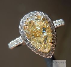 natural yellow teardrop diamond ring #unique #wedding