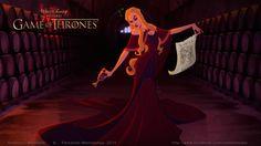 Game of Thrones reimagined as a Disney movie : Cersei Lannister (by Anderson Mahanski & Fernando Mendonça) Cersei Lannister, Daenerys Targaryen, Jaime Lannister, Game Of Thrones Disney, Game Of Thrones Art, Game Of Thrones Characters, Walt Disney, Disney Games, Disney Animation