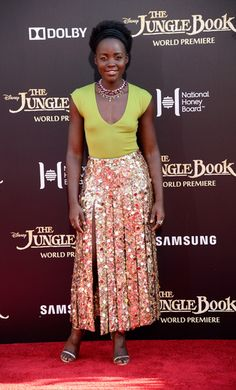 "Lupita Nyong'o hits the red carpet at the Hollywood premiere of ""The Jungle Book."""