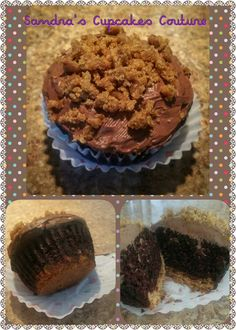 Peanut Butter Cookie Crunch Cupcake https://www.facebook.com/Sandrascupcakescouture/posts/536798289848604:0