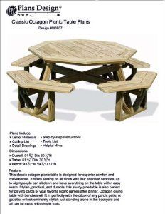 Classic Large Octagon Picnic Table / Bench Woodworking Project Plans Pattern #ODF07 - Amazon.com